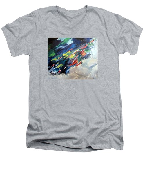 Men's V-Neck T-Shirt featuring the painting Salmon Run by Carol Sweetwood