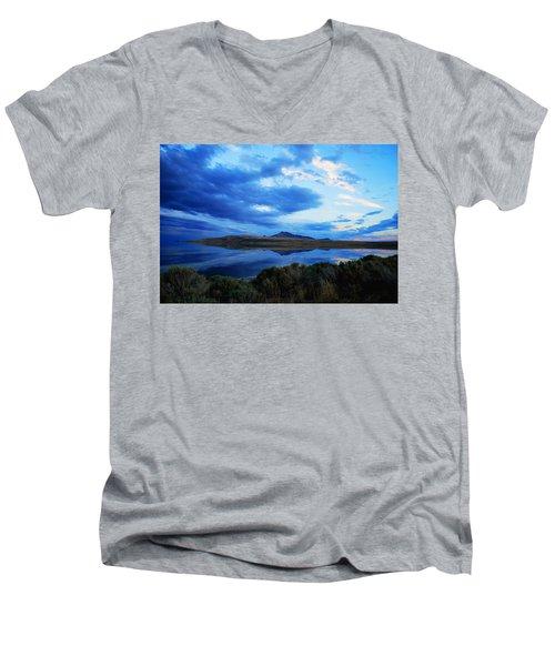 Men's V-Neck T-Shirt featuring the photograph Salt Lake Antelope Island by Matt Harang