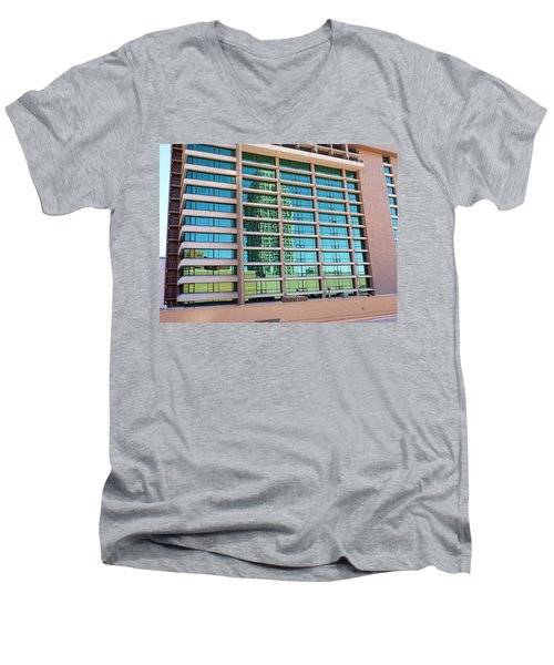Men's V-Neck T-Shirt featuring the photograph Salt Lake City Architecture Reflection by Ely Arsha