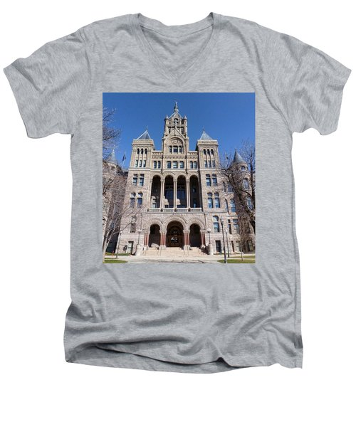 Men's V-Neck T-Shirt featuring the photograph Salt Lake City - City Hall - 2 by Ely Arsha