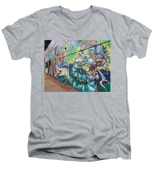 Men's V-Neck T-Shirt featuring the photograph Salt Lake City - Mural 2 by Ely Arsha