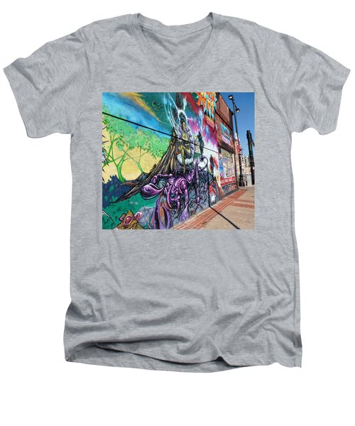 Men's V-Neck T-Shirt featuring the photograph Salt Lake City - Mural 3 by Ely Arsha