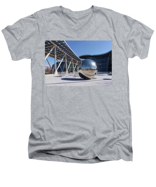 Men's V-Neck T-Shirt featuring the photograph Salt Lake City Police Station - 1 by Ely Arsha
