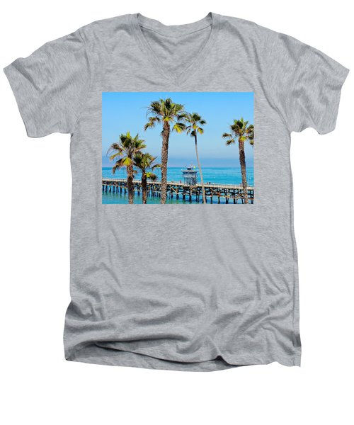 San Clemente Pier Men's V-Neck T-Shirt by Suzanne Oesterling