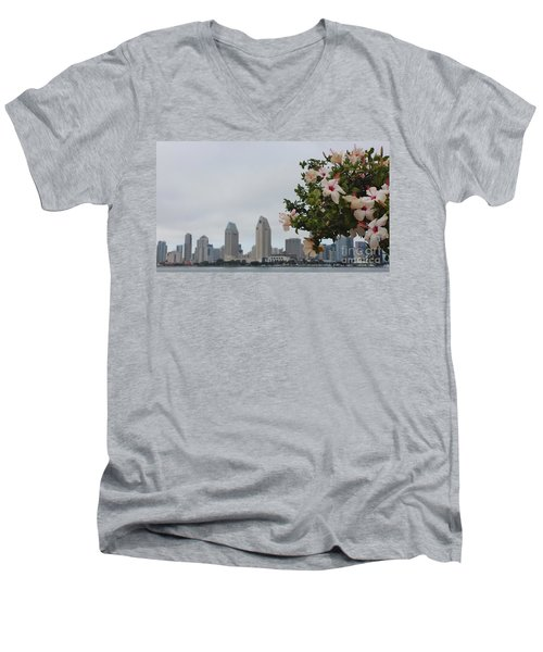Men's V-Neck T-Shirt featuring the photograph San Diego From Coronado View by Jasna Gopic