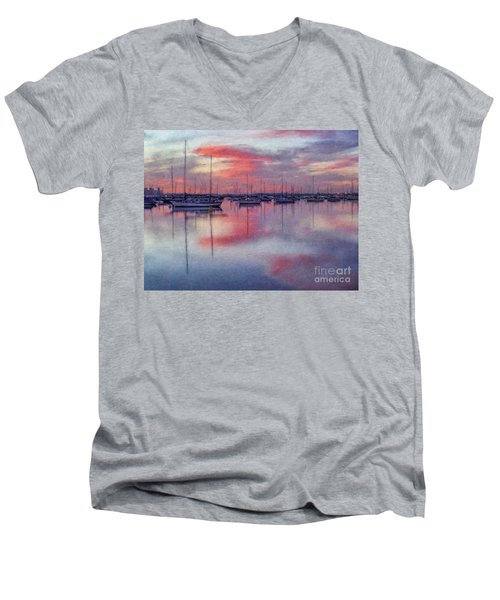 Men's V-Neck T-Shirt featuring the digital art San Diego - Sailboats At Sunrise by Lianne Schneider