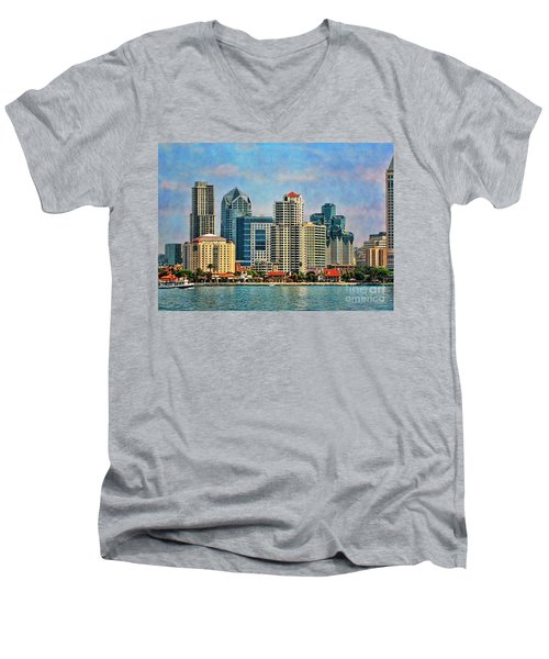 San Diego Skyline Men's V-Neck T-Shirt by Peggy Hughes