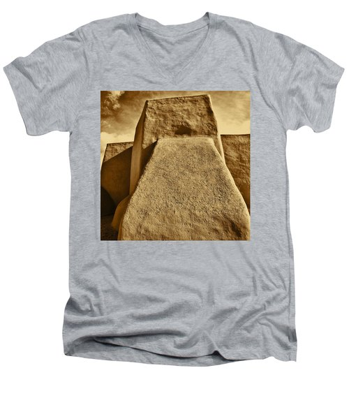 Men's V-Neck T-Shirt featuring the photograph San Francisco De Asis Mission Church Taos by John Hansen