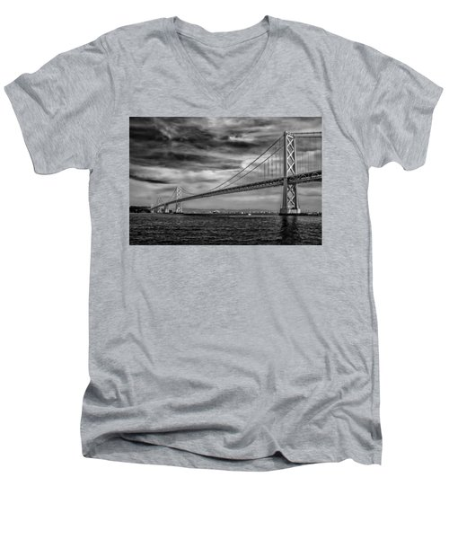 San Francisco - Oakland Bay Bridge Men's V-Neck T-Shirt