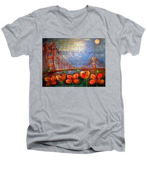 San Francisco Poppies For Lls Men's V-Neck T-Shirt