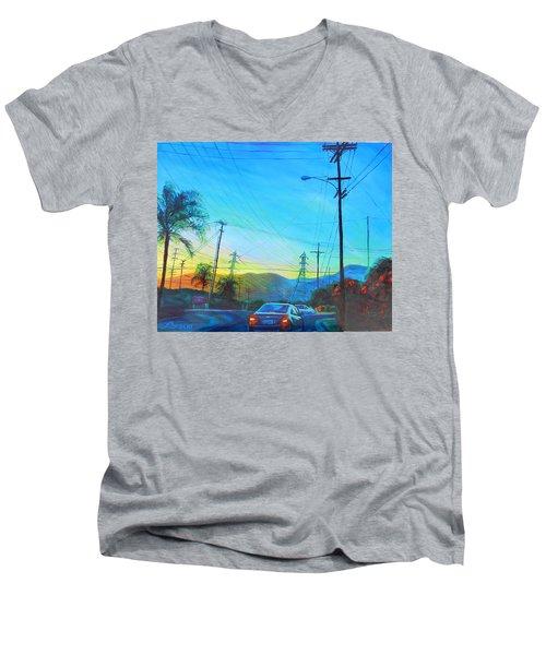 San Gabriel Rush Men's V-Neck T-Shirt by Bonnie Lambert