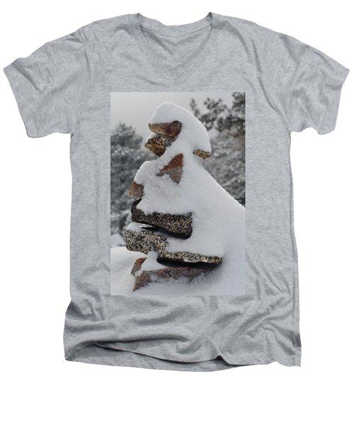 Men's V-Neck T-Shirt featuring the photograph San Jacinto Balanced Rocks by Kyle Hanson
