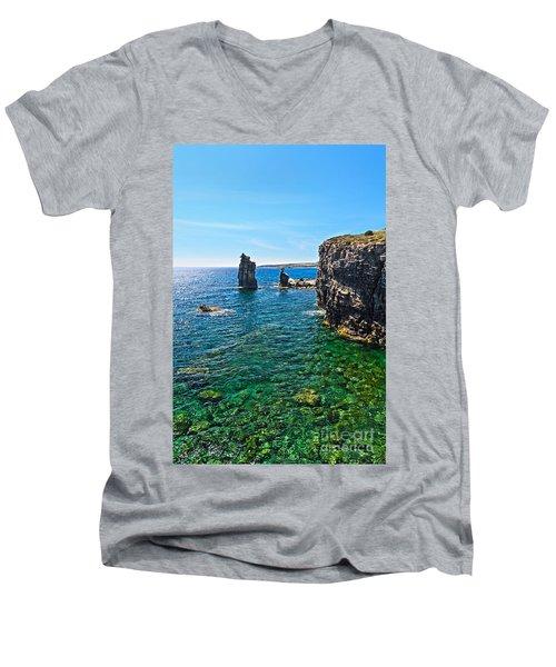 San Pietro Island - Le Colonne Men's V-Neck T-Shirt by Antonio Scarpi