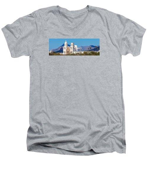 San Xavier Del Bac Mission Men's V-Neck T-Shirt by Ed Gleichman