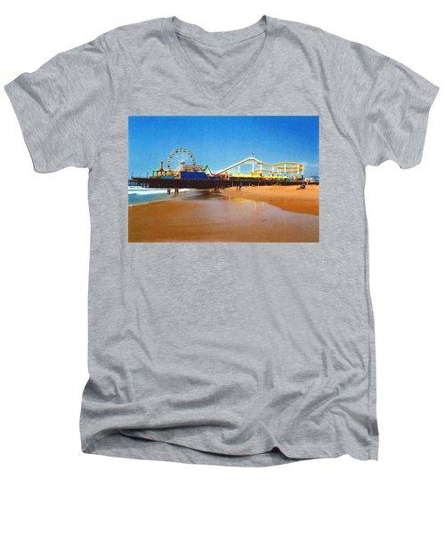 Men's V-Neck T-Shirt featuring the photograph Sana Monica Pier by Daniel Thompson