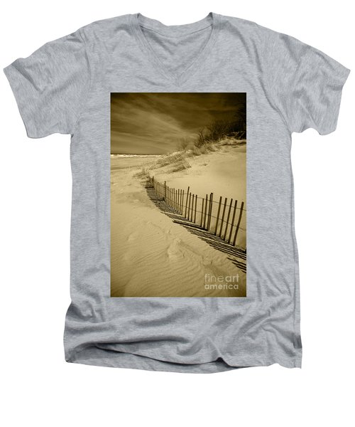 Sand Dunes And Fence Men's V-Neck T-Shirt