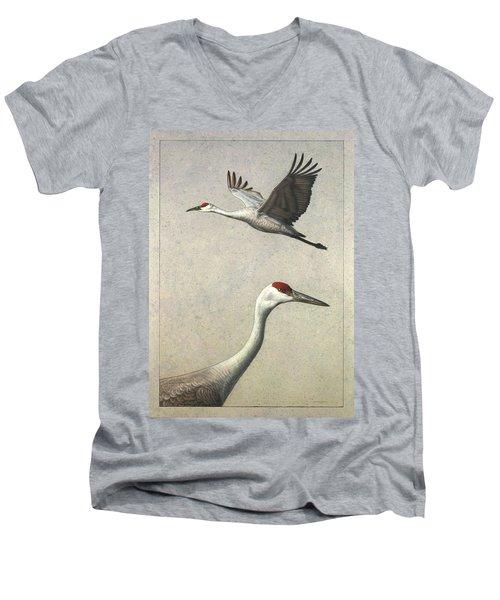 Sandhill Cranes Men's V-Neck T-Shirt by James W Johnson