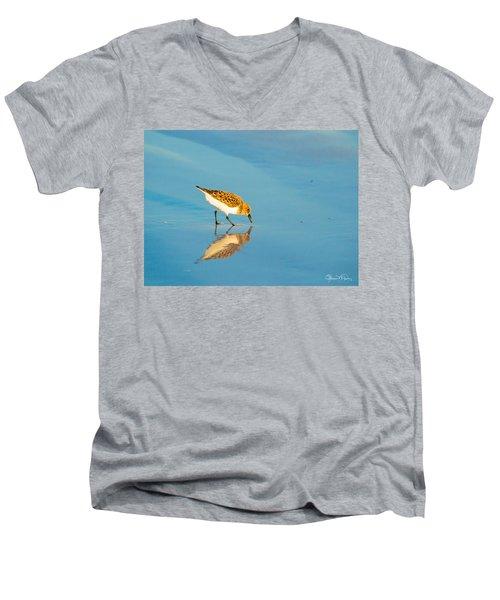Sandpiper Mirror Men's V-Neck T-Shirt by Susan Molnar