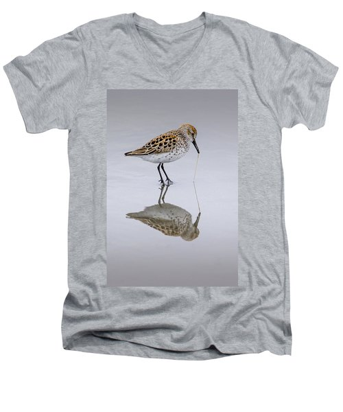 Sandpiper Pull Men's V-Neck T-Shirt by Sonya Lang