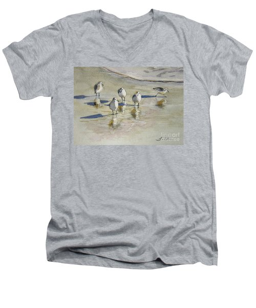 Sandpipers 2 Watercolor 5-13-12 Julianne Felton Men's V-Neck T-Shirt