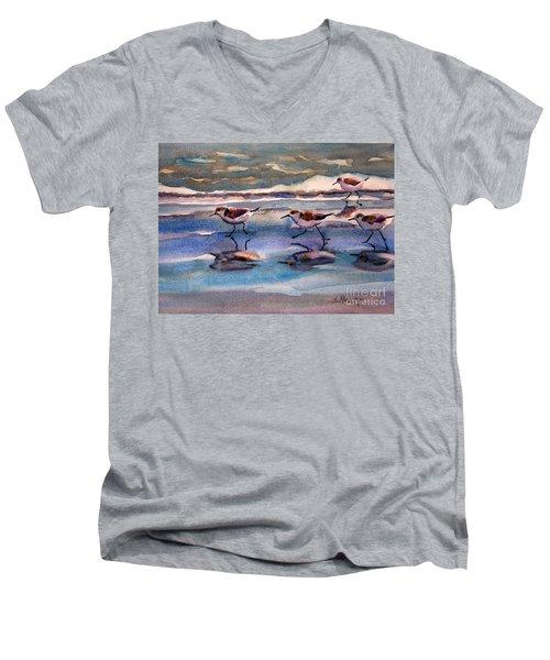 Sandpipers Running In Beach Shade 3-10-15 Men's V-Neck T-Shirt