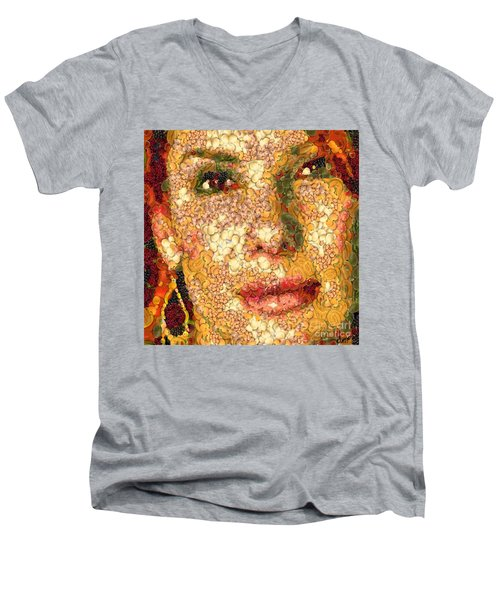 Men's V-Neck T-Shirt featuring the digital art Sandra Bullock In The Way Of Arcimboldo by Dragica  Micki Fortuna