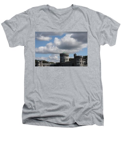 Men's V-Neck T-Shirt featuring the photograph Sands Point Castle by John Telfer
