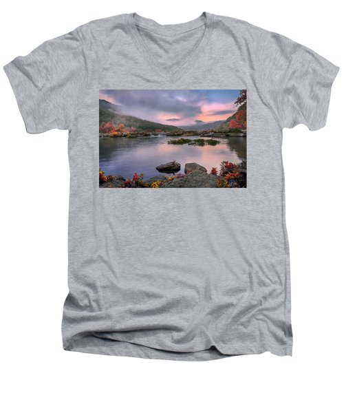 Sandstone Falls At Dawn Men's V-Neck T-Shirt