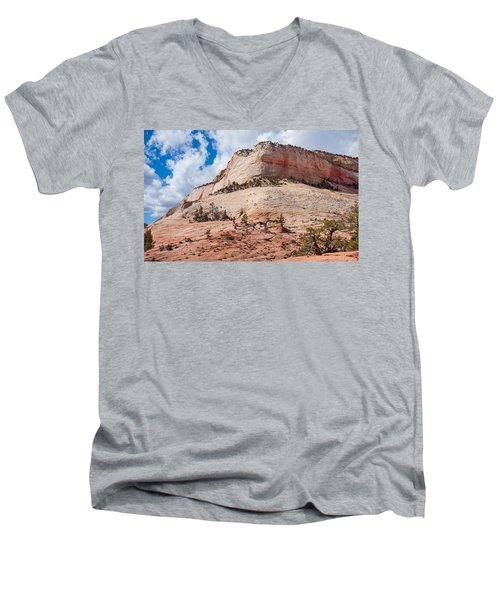 Men's V-Neck T-Shirt featuring the photograph Sandstone Mountain by John M Bailey
