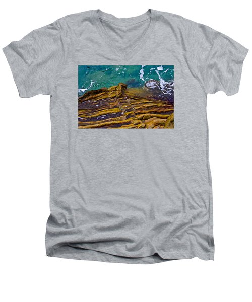 Men's V-Neck T-Shirt featuring the photograph Sandstone Ribs by Adria Trail