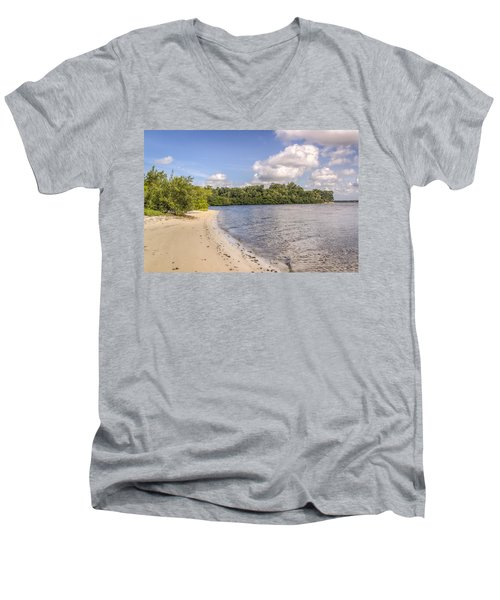 Men's V-Neck T-Shirt featuring the photograph Sandy Beach by Jane Luxton