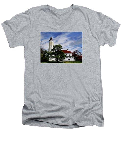 Sandy Hook Lighthouse Nj Men's V-Neck T-Shirt by Skip Willits