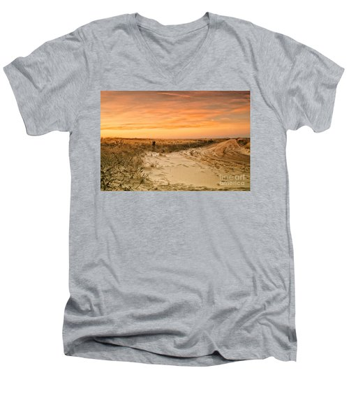 Sandy Road Leading To The Beach Men's V-Neck T-Shirt by Sabine Jacobs