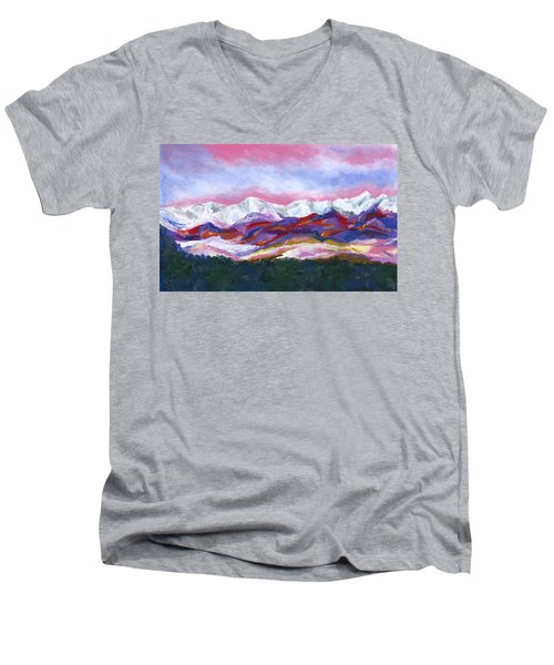 Men's V-Neck T-Shirt featuring the painting Sangre De Cristo Mountains by Stephen Anderson