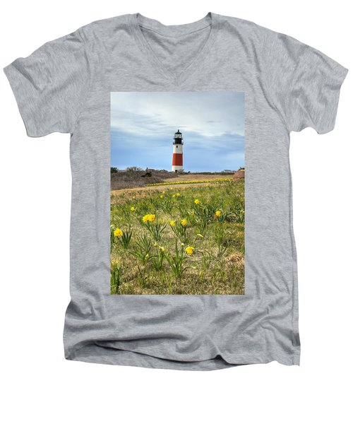 Sankaty Lighthouse Nantucket Men's V-Neck T-Shirt