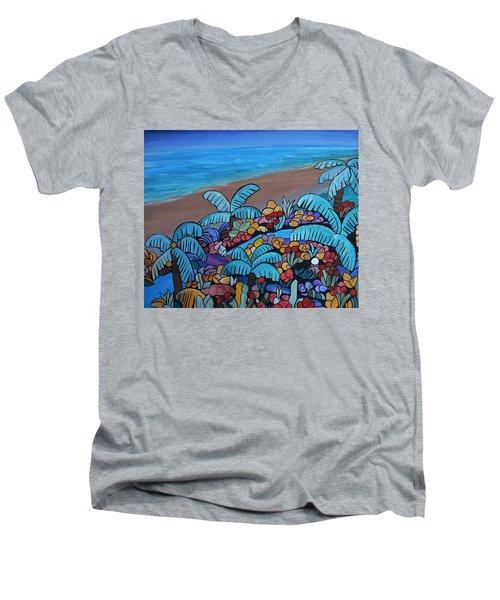 Santa Barbara Beach Men's V-Neck T-Shirt by Barbara St Jean