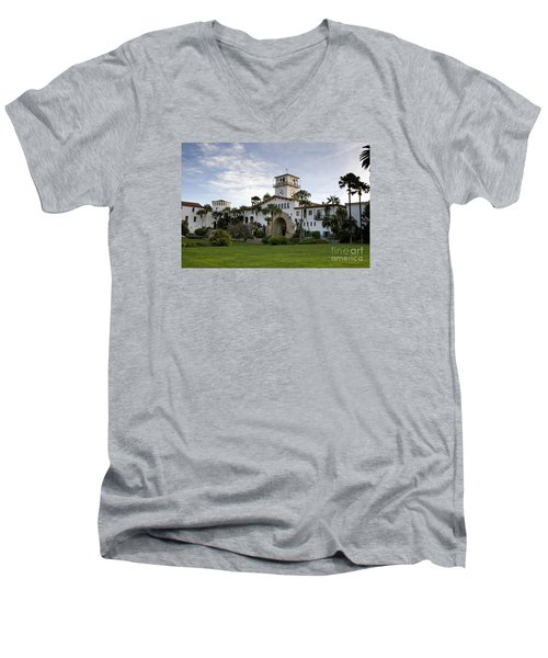 Santa Barbara Men's V-Neck T-Shirt by David Millenheft