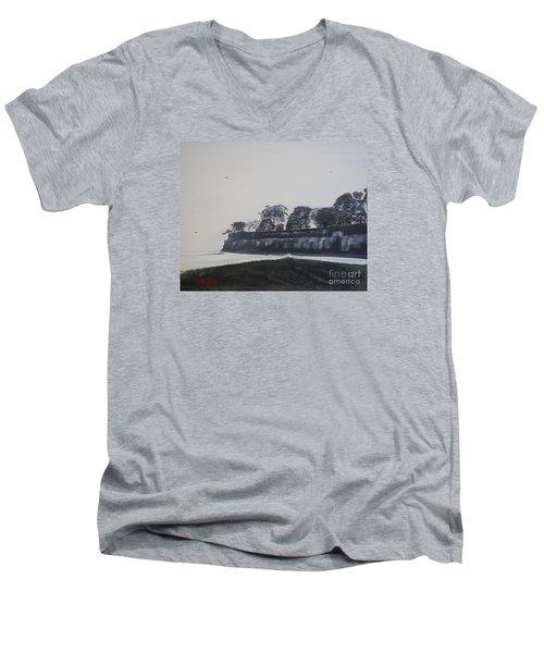 Men's V-Neck T-Shirt featuring the painting Santa Barbara Shoreline Park by Ian Donley