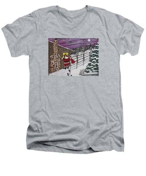 Santa Claus Is Watching Men's V-Neck T-Shirt