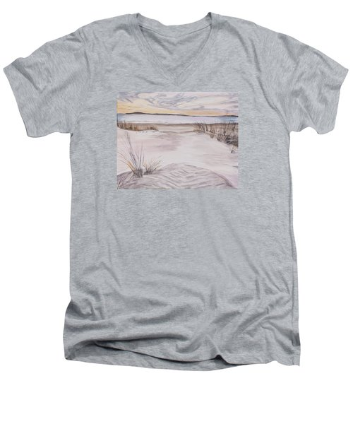 Men's V-Neck T-Shirt featuring the painting Santa Cruz Sunset by Ian Donley