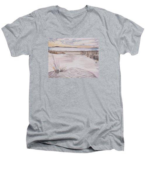 Santa Cruz Sunset Men's V-Neck T-Shirt by Ian Donley