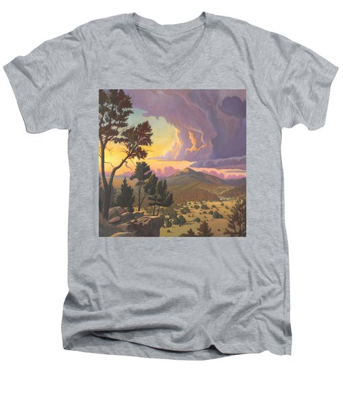 Men's V-Neck T-Shirt featuring the painting Santa Fe Baldy - Detail by Art James West