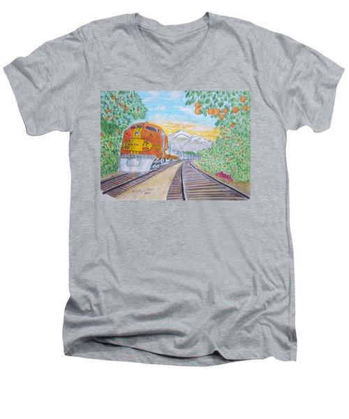 Santa Fe Super Chief Train Men's V-Neck T-Shirt by Kathy Marrs Chandler