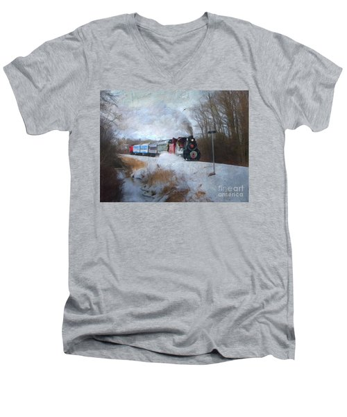 Men's V-Neck T-Shirt featuring the digital art Santa Train - Waterloo Central Railway No Text by Lianne Schneider