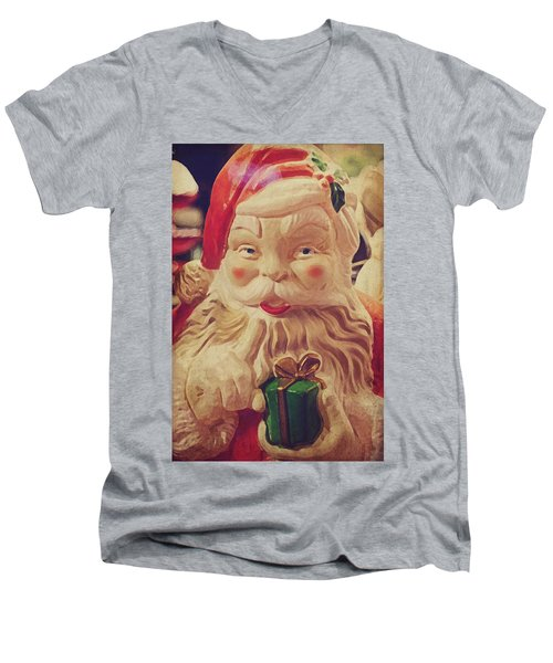 Santa Whispers Vintage Men's V-Neck T-Shirt by Toni Hopper