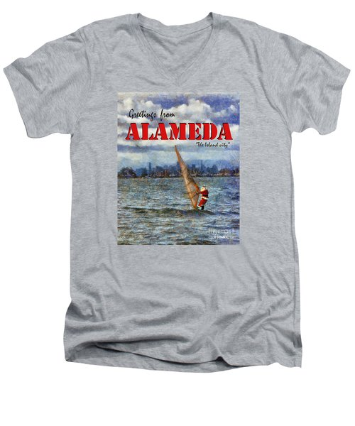 Men's V-Neck T-Shirt featuring the photograph Alameda Santa's Greetings by Linda Weinstock