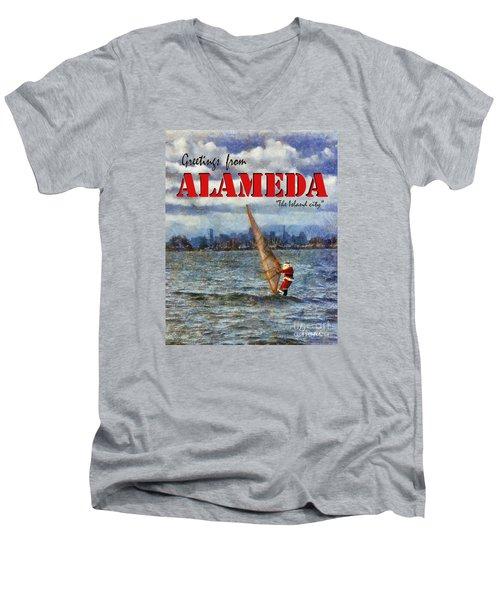 Alameda Santa's Greetings Men's V-Neck T-Shirt
