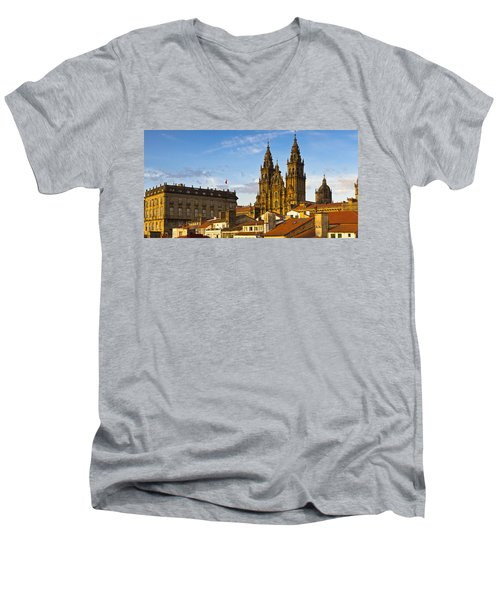 Men's V-Neck T-Shirt featuring the photograph Santiago De Compostela Cathedral Galicia Spain by Pablo Avanzini