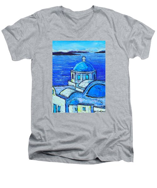 Santorini  Blue Men's V-Neck T-Shirt by Ana Maria Edulescu