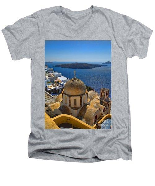 Santorini Caldera With Church And Thira Village Men's V-Neck T-Shirt by David Smith